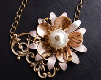 Winter Bloom-Vintage Copper and Brass Flower Necklace