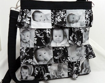 Photo Picture Hip Bag Purse Ruffle Personalized Gift Black and White choice of fabric