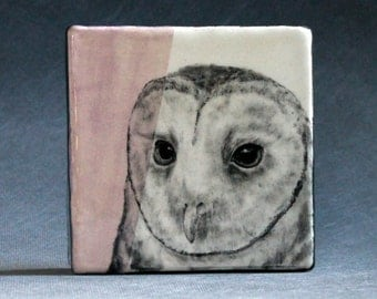 Hand Painted Masked Owl Portrait Wall Tile Pastel Lilac