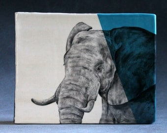 Hand Painted African Elephant Portrait Wall Tile Turquoise