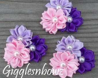 Set of THREE Embellished Spikey Satin CLuSTeR Flowers- PiNK/LaVeNDER/PuRPLe- NEW  2 inch PeTiTE Size
