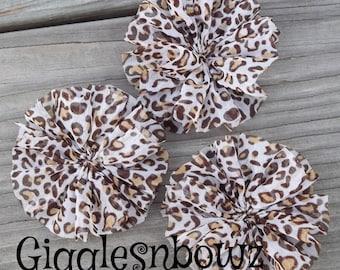 3 LEOPARD PRiNT CHiFFoN TWIRL Flowers 2.5 inch- Chiffon Flowers- Ballerina Flowers- Headband Supplies- Diy Headbands- Fabric Flowers