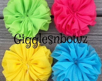 Set of 4- BRiGHT CoLLeCTiON FLuFFy CHiFFoN TWIRL Flowers 2.25-2.5 inch