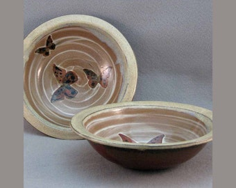 Butterfly Bowls Set of 2 with Beige Rim Stoneware