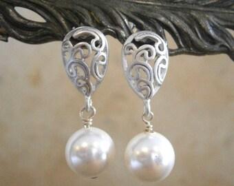 Clearance Sale, Jewelry Sale, White Swarovski Pearl Earrings, Ornate Silver Paisley Post Earrings, Bridal, Bridesmaid, Wedding Jewelry