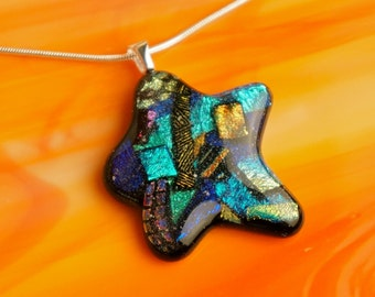 New Handmade Dichroic Silver Glass Pendant Necklace