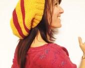 Citrine Harvest Yellow Beret  With  Maroon Dark Dusty Pink Stripe Slouchy  Hat