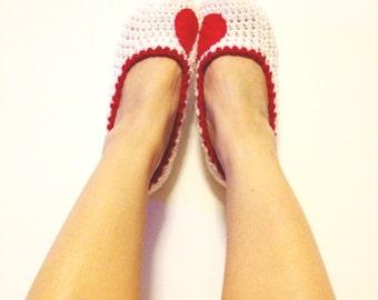 White Yarn Heart Felt Crochet Womens Slippers, Ballet Flats, House Shoes