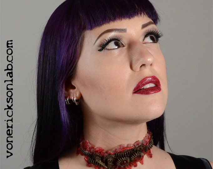 Gothic Halloween Jewelry Steampunk Zomie Gear Choker - Antique Brass  Tone - Slit throat Cyberpunk