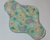 Menstrual Pad Mama Pad Mama Cloth Reusable Sanitary Pad with PUL lining mint green with pastel paisley print - size S/M