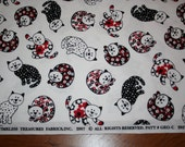 Fabric - Timelss Treasures - Red and Black Graphic Cats