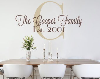 Personalized Family Monogram Vinyl Wall Decal - Custom Family Decal