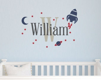 Boys Name Decal with Rocket Set, Boys Wall Art, Vinyl Decals, Personalized Name Decal, Space Wall Decals, Planet Wall Decals