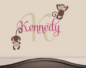 Monkey Name Wall Decal - Safari Vinyl Decals - Nursery Children Baby