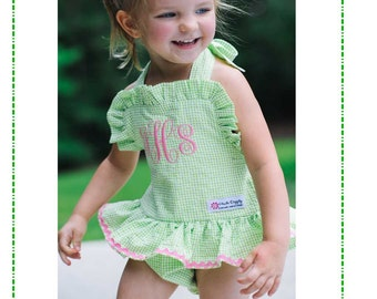 Its Here The NEW Abby One Piece Seersucker Swim Suit PDF Sewing Pattern sizes 3-6m-6