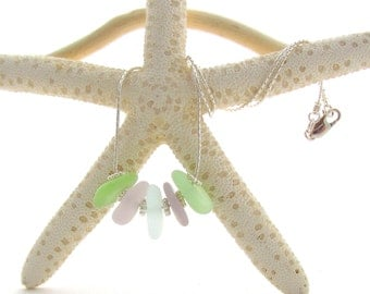 Sterling Silver Necklace w/Beach Glass - Seafoam/Lavender/Baby Blue (5)