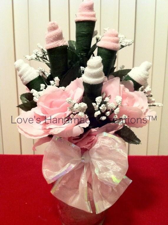 Baby  Girl Washcloth Floral Arrangement