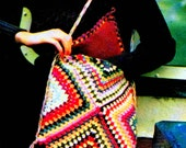 INSTANT DOWNLOAD PDF Vintage Crochet Pattern  Granny Squares Pouch Bag  Handbag Tote Retro