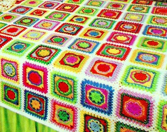 INSTANT DOWNLOAD PDF Vintage Crochet Pattern  Patchwork Granny Square  Afghan Throw Blanket Bedspread Retro