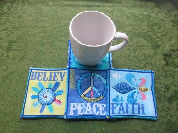 dream peace faith and believe set of mug rugs