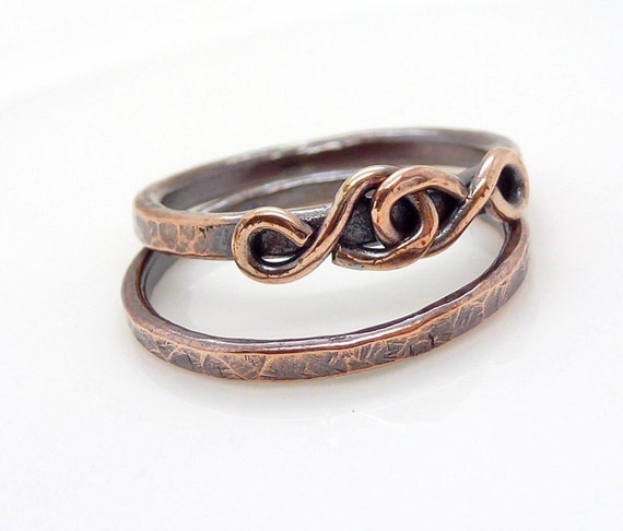Copper love knot ring set, Copper stacking ring set, hammered copper stackable ring, copper ring