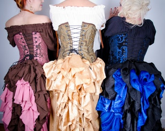 Custom , Choose Your Color Fancy Saloon Skirts, Medieval, Renaissance, Western, Steampunk, Victorian, Ruffle, Bustle, Long Skirt, High-Low