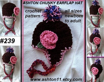 INSTANT DOWNLOAD Crochet Pattern PDF 239  Chunky Style Ear Flap Hat, baby to adult sizes