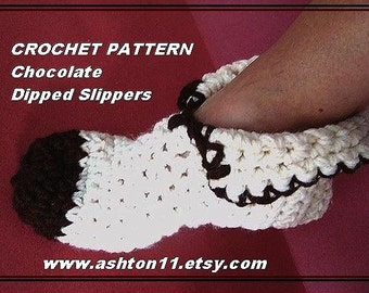 INSTANT DOWNLOAD Crochet Pattern PDF 186- Unisex Slippers Age 2 to Adult Sizes Chocolate Dipped Slippers