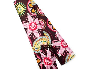 Fabric Camera Strap Cover Padded with Lens Cap Pocket Option -- Carnival Bloom -- Ready To Ship