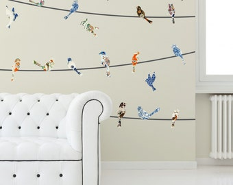China Plate Birds on a Wire Wall Decals