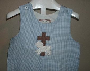Boutique Easter Longall Cross with Lamb Monogram Personalized