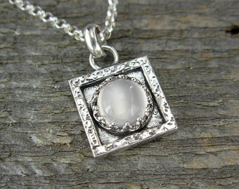 Moonstone Necklace - Tiny Square Moonstone Pendant in Sterling Silver - Gemstone Necklace