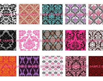 INSTANT DOWNLOAD...Damask... 1 Inch Square Images Collage Sheet for Glass Pendants ...Buy 3 get 1