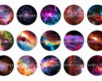 INSTANT DOWNLOAD...Colorful Galaxy....1 Inch Circle Image Collage for Bottle Caps...Buy 3 get 1
