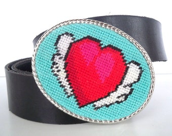 CLEARANCE Needlepoint Tattoo Winged Red Heart Valentine's Day Belt Buckle