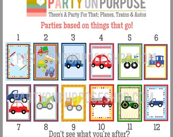Cars Planes Trains Boats Birthday Banner and Cupcake Toppers Fully Assembled Decorations