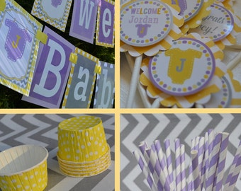 Baby Shower Party Decorations Purple Yellow Gray Fully Assembled