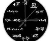 Mathematics Math Chalkboard Clock, 8 inch diameter, BLACK or GREEN - Perfect gift for math student, teacher, engineer, physicist - RipdNTorn