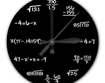 Mathematics Math Chalkboard Clock, 8 inch diameter - Perfect gift for math student, teacher, engineer, physicist