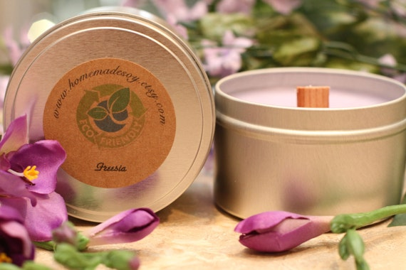 8oz FREESIA Wood Wicked Soy Candle Travel Tin