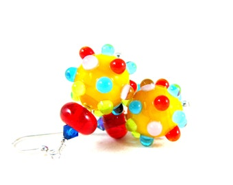 Colorful Earrings, Funky Jewelry, Lampwork Earrings, Glass Earrings, Fun Earrings, Bumpy Earrings Polka Dot Earrings - Rainbow Sprinkles