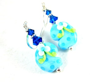 Flip Flop Earrings, Beach Jewelry, Blue Glass Earrings, Summer Earrings, Lampwork Earrings, Beadwork Earrings, Beach Earrings - Flip Flops