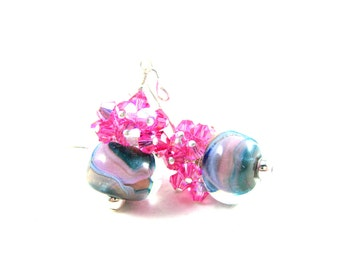 Pink Crystal Earrings, Blue Peach Pink Earrings, Boro Lampwork Earrings, Cluster Earrings, Pastel Glass Earrings - Gentle Breeze