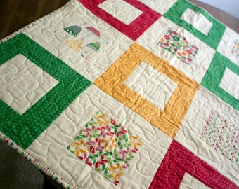 baby girl quilt in rainy days fabric // pink green yellow modern block quilt // READY TO SHIP