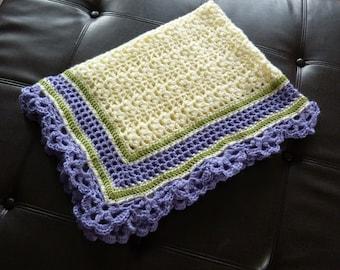 Large Full-Sized Elegant Crocheted Baby Afghan- Spring
