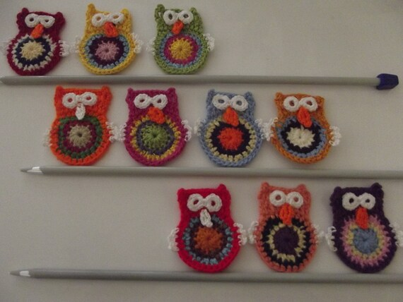 10 Pcs Cotton Crochet  Applique owl...Crochet Pattern ...Pattern Applique...Embellishment