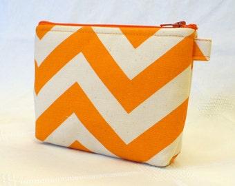 Chevron Fabric Gadget Pouch Cosmetic Bag Zipper Pouch Makeup Bag Cotton Zip Pouch Orange Natural MTO