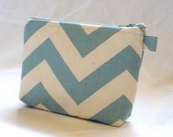 Chevron Fabric Gadget Pouch Cosmetic Bag Zipper Pouch Makeup Bag Cotton Zip Pouch Village Blue  Natural Zig Zag MTO