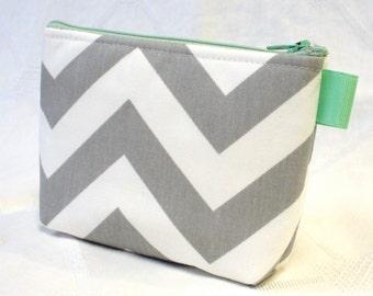 Bridesmaids Chevron Fabric Cosmetic Bag Gadget Pouch Zipper Pouch Makeup Bag Cotton Zip Pouch Gray Mint Green White MTO