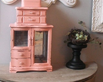 Upcycled PINK 3 tiered Jewelry tower ... JEWELRY CHEST ... Shabby chic Cottage Box